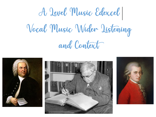 A Level Edexcel Music Vocal Music Wider Listening and Context