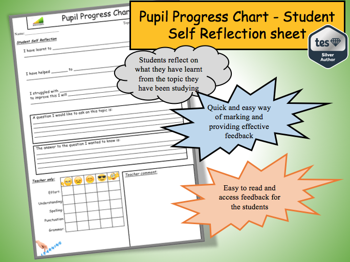 Students Self Reflection Sheet: Pupil Progress chart (and faster marking)