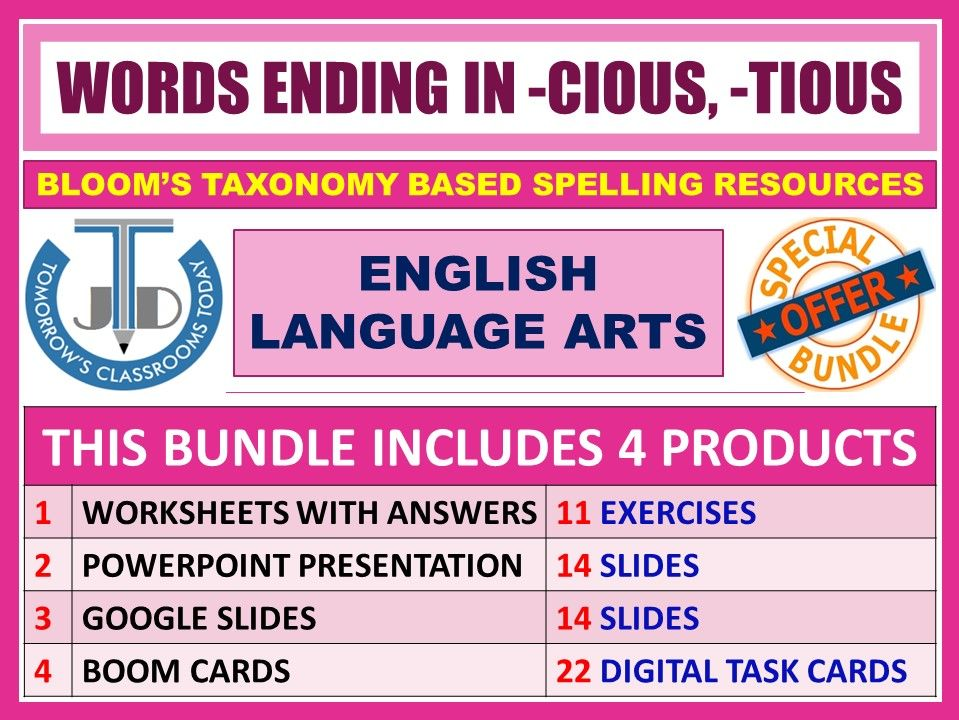 SUFFIXES: WORDS ENDING IN -CIOUS, -TIOUS - BUNDLE
