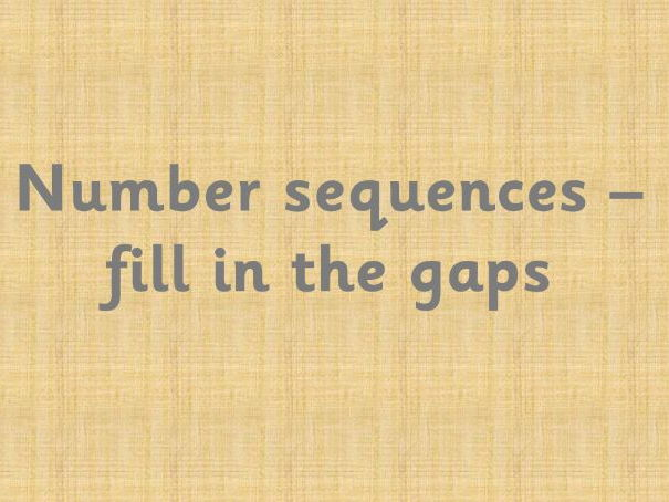 Number sequences - fill in the blanks
