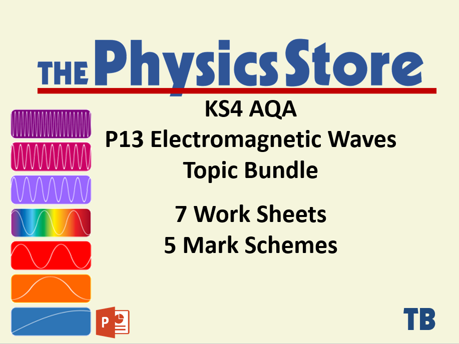 KS4 Physics AQA P13 Electromagnetic Waves Topic - 7 Worksheets and 5 Mark Schemes Only Bundle