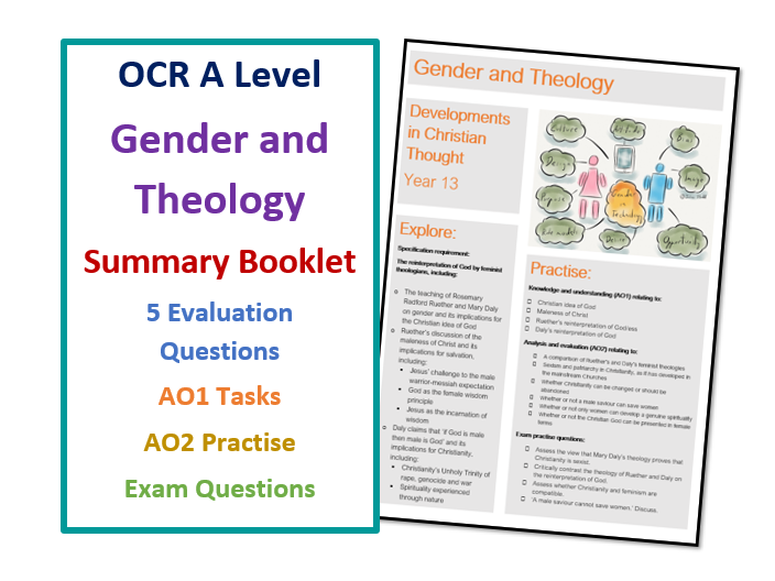 A Level RS: Gender and Theology - Lesson Summary Booklet with Exam  Practise