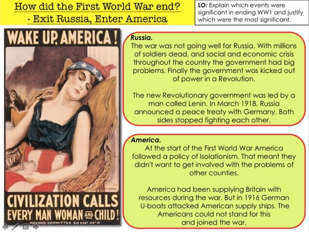 How did the First World War End? Exit Russia Enter America