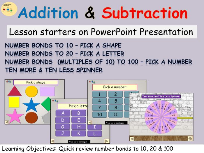 Number Bonds to 10 20  and Multiples of 10 to 100  PowerPoint Lesson Starters