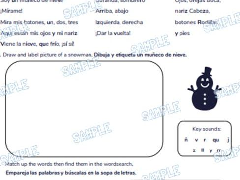 Spanish Primary School Worksheet & MP3 Music File - Christmas Theme (I'm a Little Snowman)