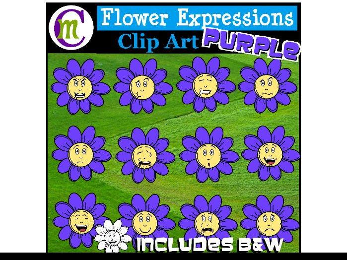 Flower Emotions Clipart | Purple Flowers Clip Art