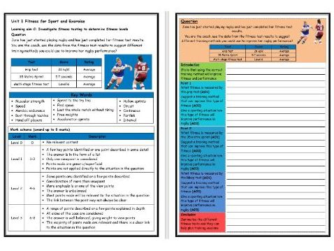 BTEC Sport (Level 2)- Unit 1 – Fitness Testing 3 Structure Strip (Long Answer Question)