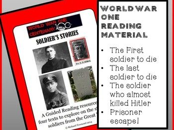 World War One: SOLDIER'S STORIES - Reading comprehension package
