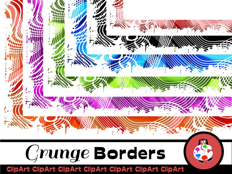 Grunge Page Border Clip Art Set