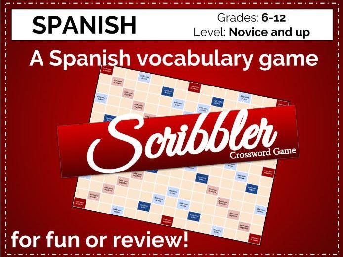Spanish Vocabulary Crossword Game