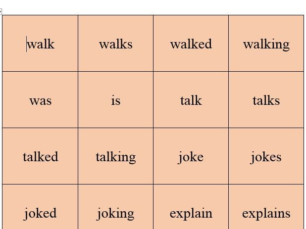 Verb cards - different tenses