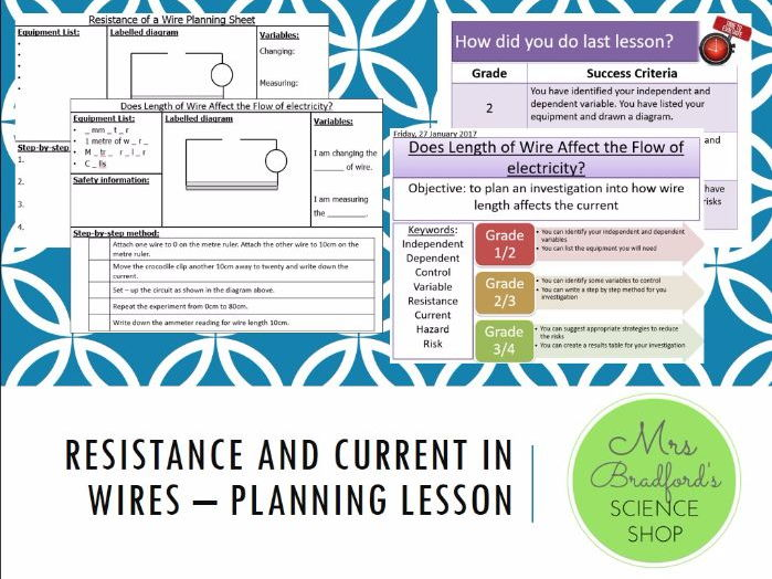 Resistance and Current in Wires - Planning Lesson