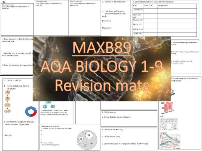 FREE!!! GCSE 9-1 Revision Biology AQA  Unit 1 Revision Mats