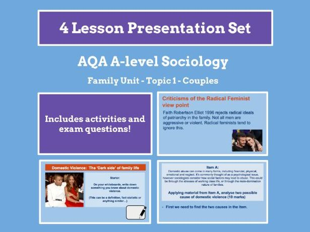 Couples - AQA A-level Sociology - Family Unit - Topic 1