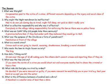 GCSE History: Crime & punishment: Quizzes/revision - knowledge recall (Edexcel)