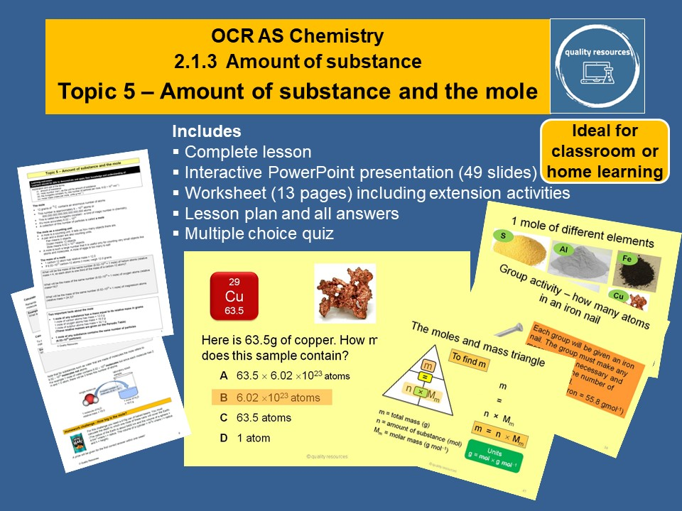 Amount and moles OCR AS Chemistry