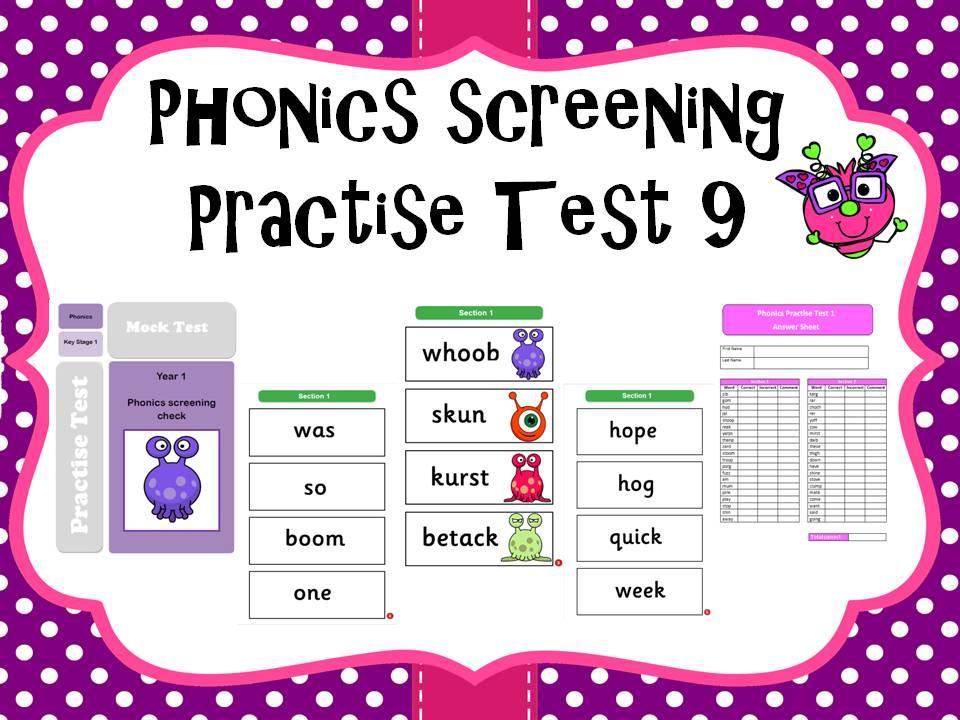Phonics screening practise test 9