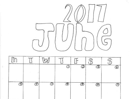 June Calendar Organiser and Colouring Sheet