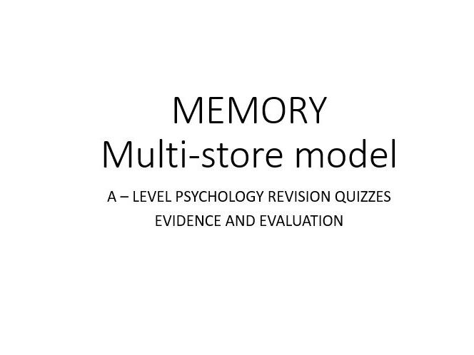 Psychology - Memory - Multi Store Model QUIZ (3/3)