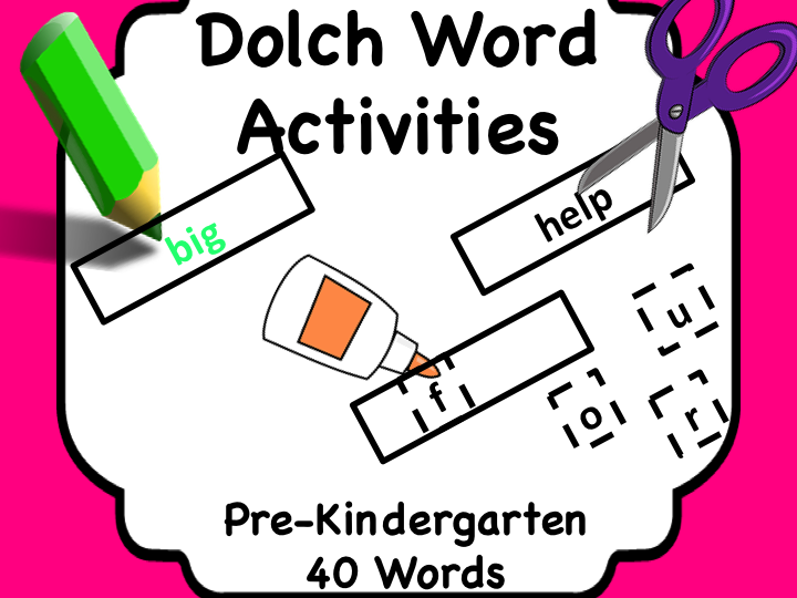 Dolch Words Pre-K: Task Card for Each Word + Matching Cards
