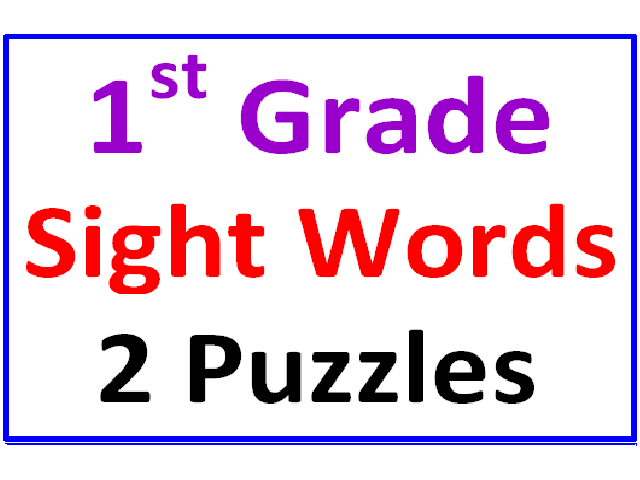 First Grade Sight Words Word Search Puzzles (2 Puzzles)