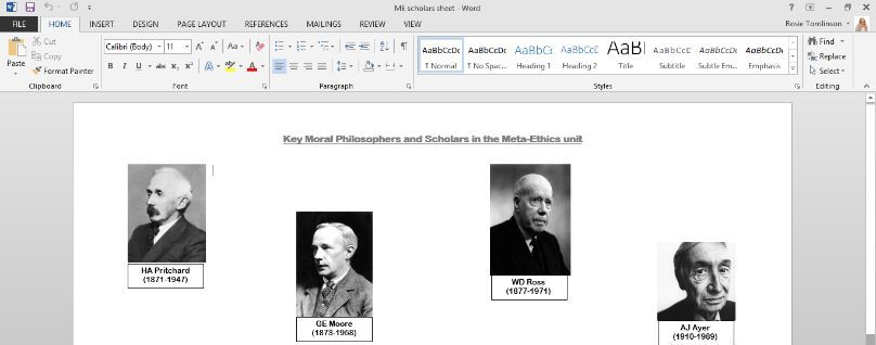 Meta Ethics A Level Ethics Revision Summary sheet of key scholars and their contributions