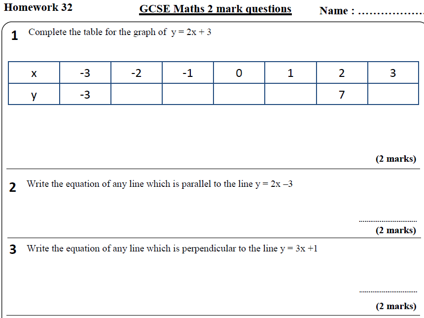 10 GCSE Maths HIGHER Homework Revision (9-1) Part 4 -Includes all ANSWERS