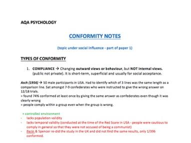 A* Conformity Notes - A-Level Psychology - AQA Paper 1 - Part of the Social Influence unit