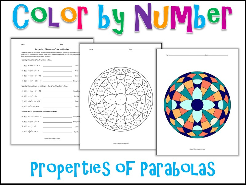 Properties of Parabolas Color by Number