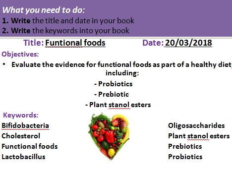 Functional foods (probiotics, prebiotics, Plant stanol esters)