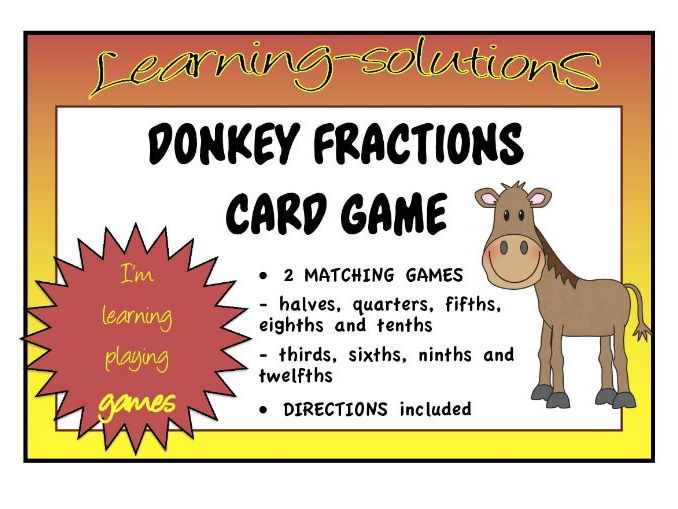 FRACTIONS - DONKEY - 2 Matching Card Games - halves/quarters/eighths/thirds/sixths/fifths/tenths