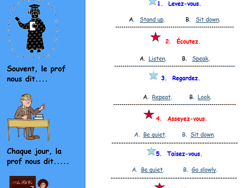 French Classroom Commands
