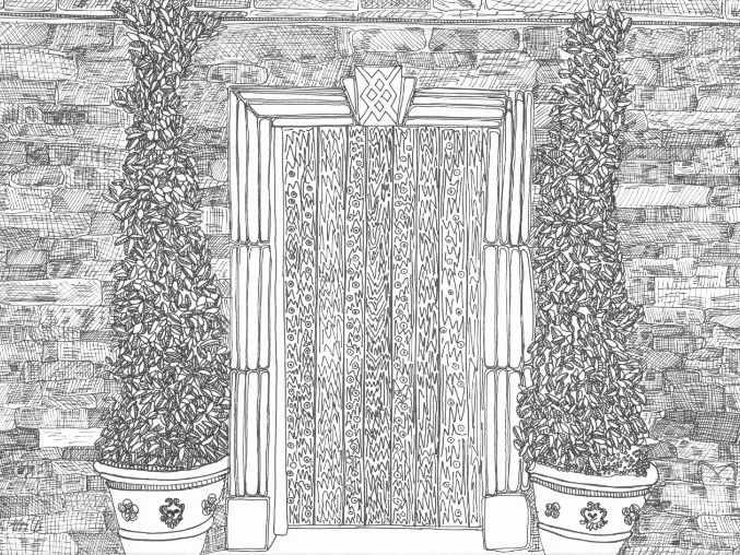Secret Door Colouring Page