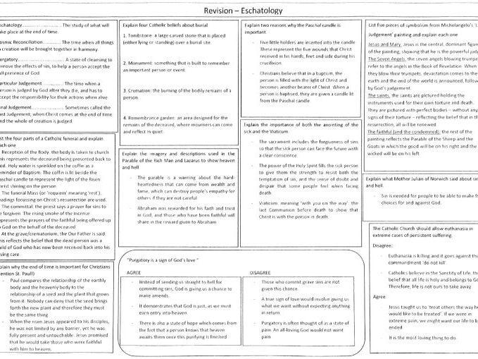 AQA New GCSE AQA Spec B Catholic Christianity Eschatology Revision Exercise - with answers!