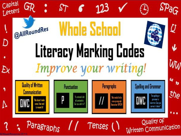 Whole School: Literacy Marking Code Classroom Posters! All Levels!