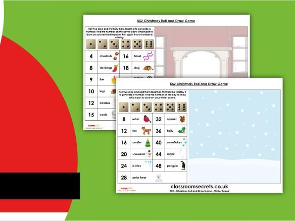 Christmas Roll and Draw KS2 Game Activity