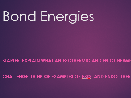 KS3 Bond Energies
