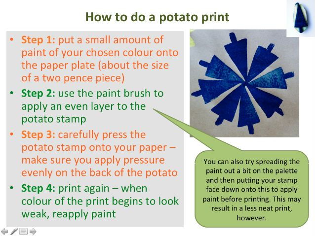 Christmas potato printing wrapping paper using paint and brushes