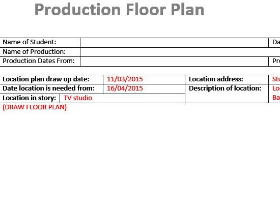 Birds Eye Floor Plan (Film & TV/Media Students)