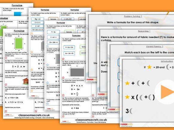 Year 6 Formulae Spring Block 3 Step 5 Lesson Pack