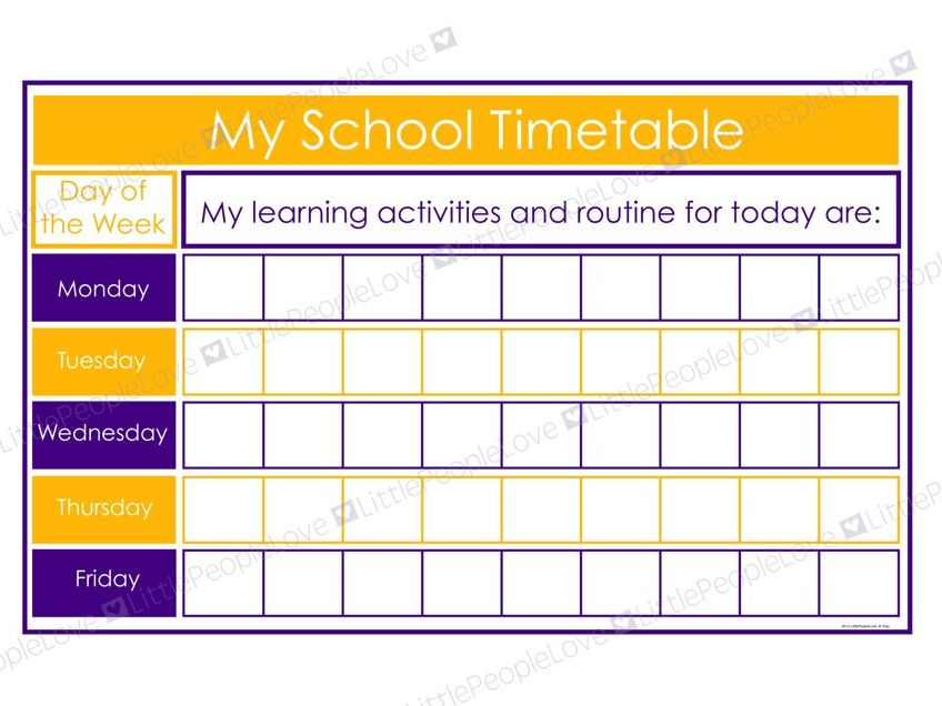 My School Timetable (Purple/Yellow)