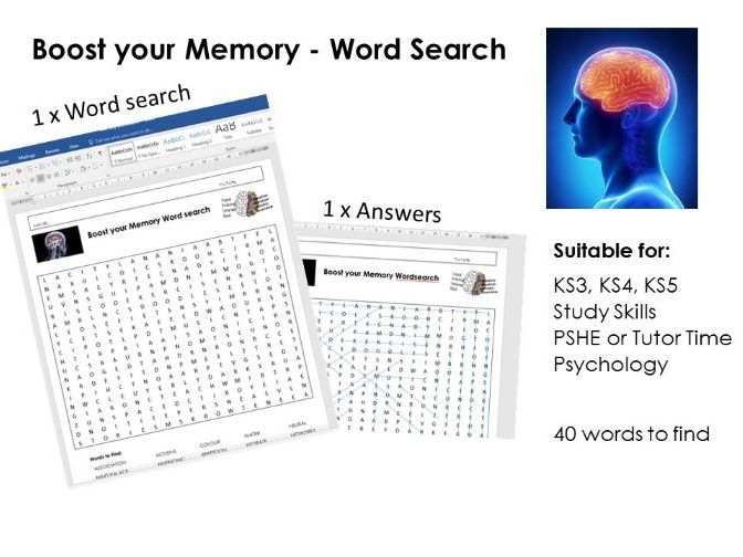 Memory / Memorisation Wordsearch