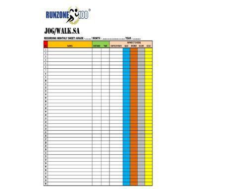 Recording Data Sheet Examples - JOG/WALK.SA Program - Gr. 1-12 - Free Package