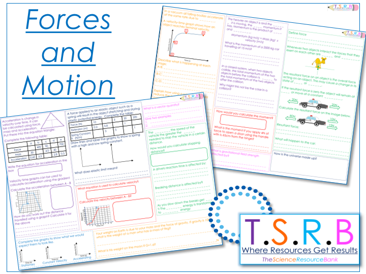 Forces and Motion Revision Mats (2) (Section1 iGCSE Physics,  Edexcel)