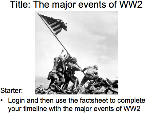 Year 9 WW2 - Lesson 2/3 Researching Key events (IT lesson)