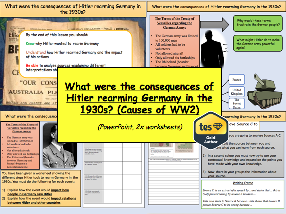 What were the consequences of Hitler rearming Germany in the 1930s? (Causes of WW2)