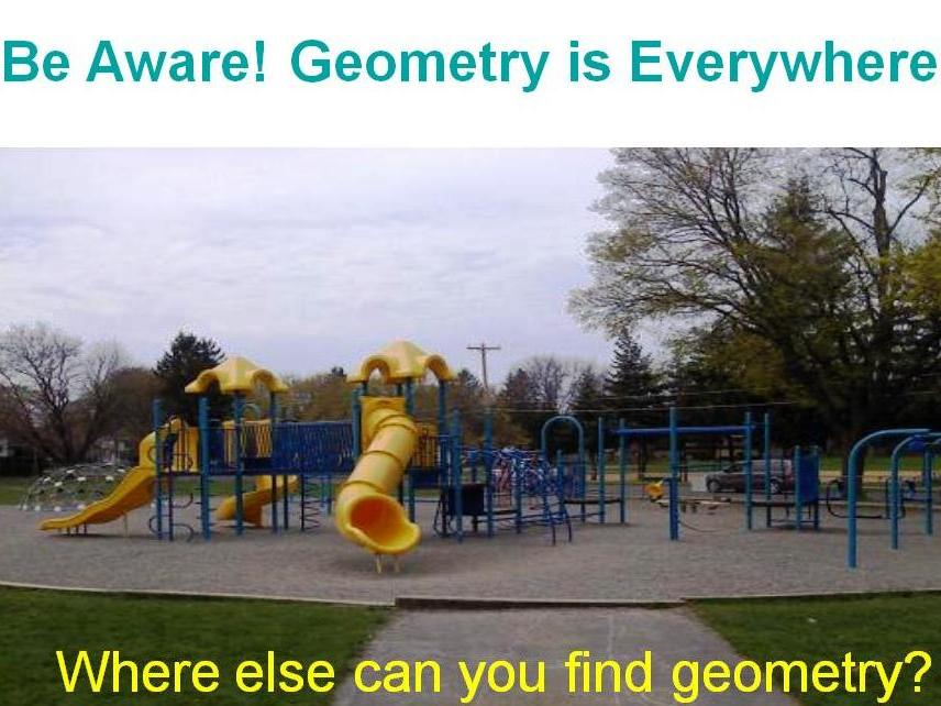 Geometry of a Playground Smart Bd, Power Point, PDF, shapes, angles, lines.