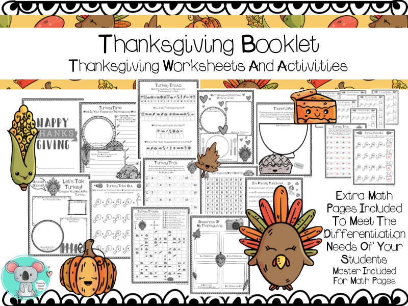 No Prep Thanksgiving Booklet: Thanksgiving Worksheets And Activities