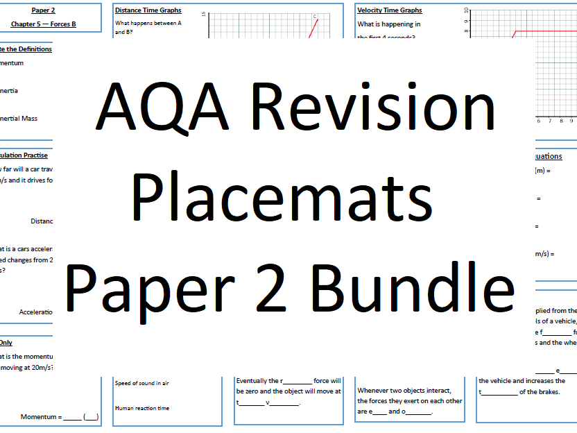 AQA Revision Placemats Paper 2 Bundle