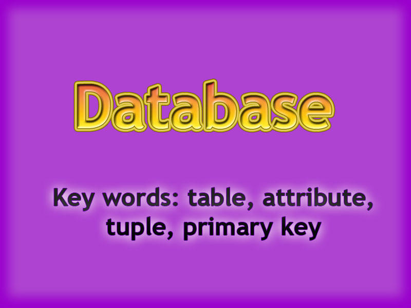 Database. Parts of table